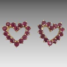 Sweet 14K YG Ruby Heart Pierced Earrings