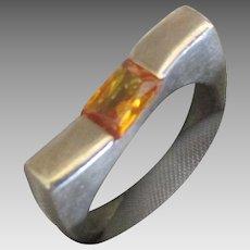 Estate Modernist Sterling Ring with Citrine