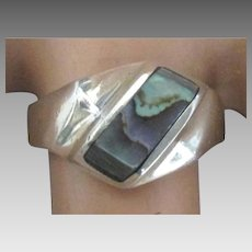 Vintage Inlaid Abalone Sterling Ring- Size 8
