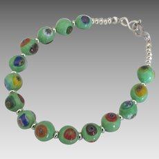 """Italian """"Evil Eye"""" Glass Bead Sterling Bracelet"""
