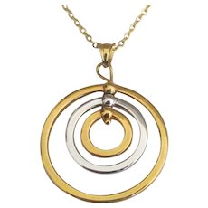 "Stunning Italian  14K Modernist Pendant and 18"" Chain"