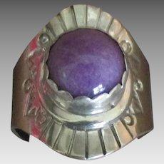 Vintage Signed Navajo Sterling Purple Agate Ring- Size 7 1/4