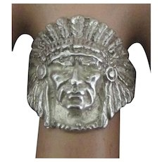 Vintage Indian Chief with Headdress Ring- Size 7 1/2