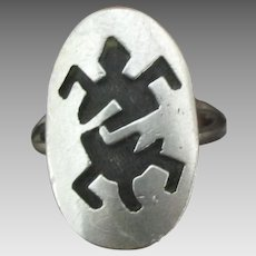 Vintage Sterling Ring with Turtle- Size 5 1/2