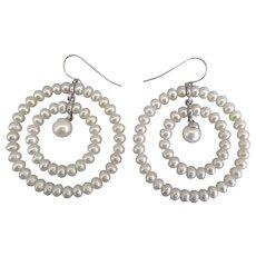 Large Double Hoop Pierced Pearl Earrings
