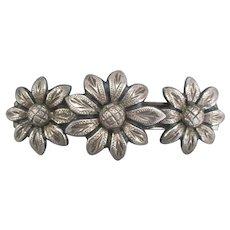 """Vintage Sterling Flowers 3"""" Hair Barrette"""