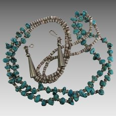 Vintage Turquoise Nugget Heishi Double Strand Necklace