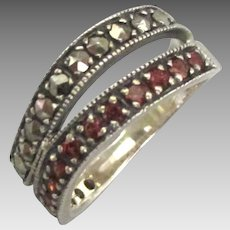 Sterling Garnet Marcasite Double Band Ring- Size 7 1/4