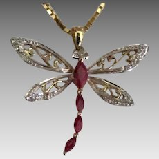 Beautiful Gold on Sterling Garnet Dragonfly Pendant
