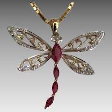 Beautiful Gold on Sterling Garnet Dragonfly Pendant