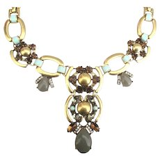 Bold Enamel Rhinestone Glass Cabochon Lavalier Necklace