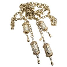 Lovely Signed Emmons Lariat Necklace with Lantern Dangles