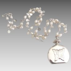 Sweet Sterling Pearl Necklace with Butterfly Perfume Bottle