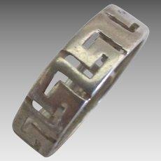 Vintage Sterling Greek Key Ring- Size 7 3/4
