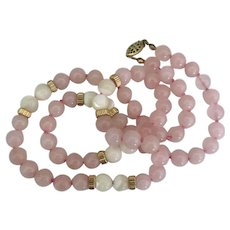 "Lovely Pink Quartz MOP Bead Necklace- 23"""