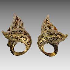 Vintage Damascene Earrings