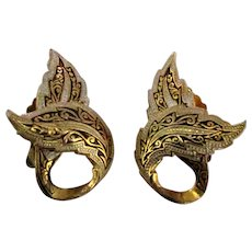 Vintage Damascene Earrings