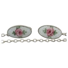 Vintage Sterling Guilloche Enamel Roses Sweater Clip
