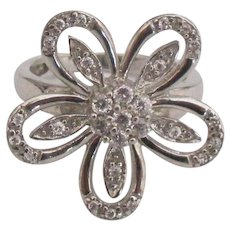 Fancy Sterling CZ Flower Ring- Size 5 3/4