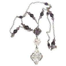 Lovely Lacey Sterling Amethyst Bead Necklace