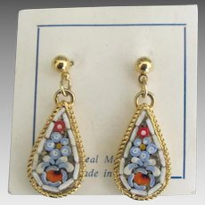 Vintage Italian Micro Mosaic Pierced Earrings