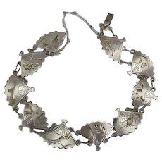 Vintage Sterling Fan Link  Bracelet