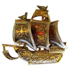Vintage Spanish Damascene Galleon Ship Brooch