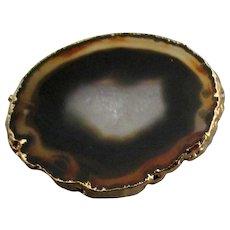 Vintage Gold Foil Agate Geode Slice Brooch