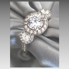 Vintage Sterling Faux Diamond Rhinestone Ring- Size 8 1/2
