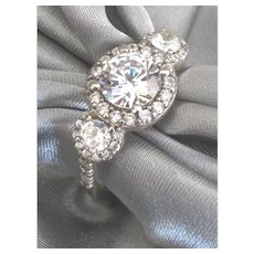 Vintage Sterling Faux Diamond Rhinestone Ring- Size 8 1/2