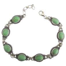 Vintage Signed Sterling Gaspeite Link Bracelet