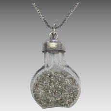 Vintage Glass Bottle with Sterling Pendant and Chain
