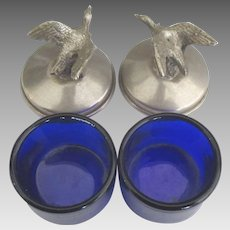 Vintage Covered Cobalt Glass Salts with Geese-Set of 2