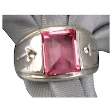 Gleaming Sterling Faceted Pink Glass Ring- Size 8