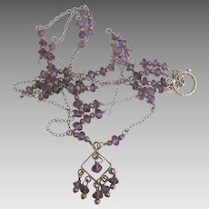 Lacey Sterling Amethyst 2 Strand Dangle Necklace