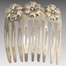 Vintage Taxco Sterling Hair Ornamental Comb