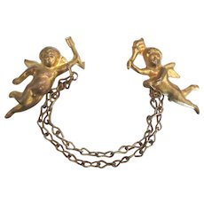 Vintage Double Winged Cherub Sweater Chain Pin or Guard