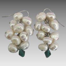 Sterling Fresh Water Pearl Cluster Dangle Pierced Earrings