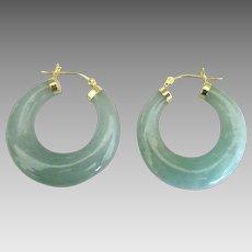 Estate 14K YG Jadeite Thick Hoop Pierced Earrings