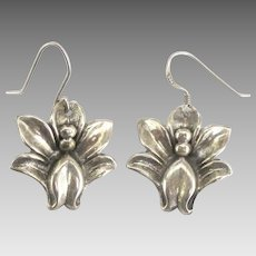 Vintage Sterling Tropical Flower Pierced Earrings
