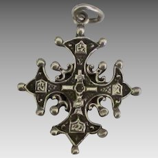 Vintage Sterling Maltese Cross Pendant or Large Charm