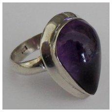 Stunning Sterling Amethyst Pear Shape Cabochon Ring
