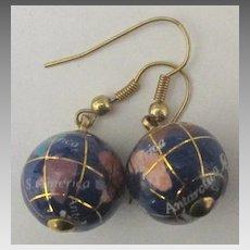 Vintage Enamel Globe Pierced Earrings