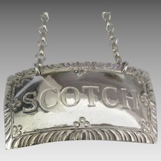 "Sterling ""Scotch"" Liquor Bottle Tag- Stieff Sterling Williamsburg"