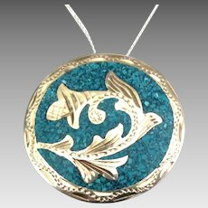 Vintage Sterling Crushed Turquoise Pendant/Brooch with Chain