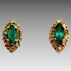 Vintage 14K Emerald Diamond Pierced Earrings