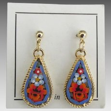 Lovely Vintage Italian Micro Mosaic Pierced Earrings
