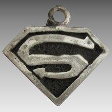 Vintage Sterling Superman Shield Charm