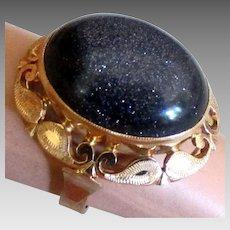 Stunning Vintage Rose Gold Czech Art Glass Ring