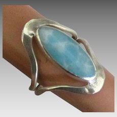 Wide Sterling Larimar Ring- Size 7 3/4